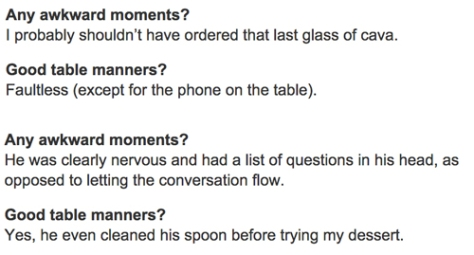 Table manners and awkward moments