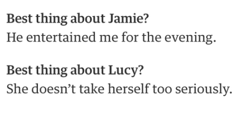 Lucy and Jamie: Best thing
