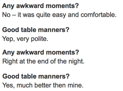 Sophie and Gareth: table manners